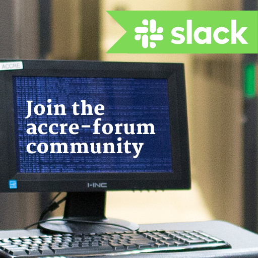 Join the ACCRE Forum community on Slack.