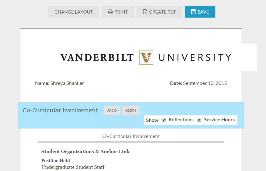 Co-Curricular Resume | Anchor Link | Vanderbilt University