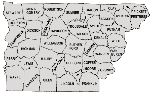 Map CNGR Vanderbilt University - Map of counties in tennessee