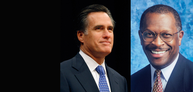 Herman Cain and Mitt Romney