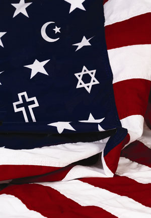 american flag with religious symbols photo