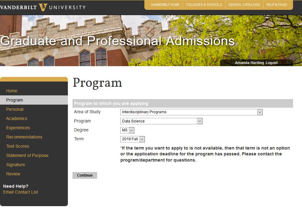 Admissions   Data Science   Vanderbilt University