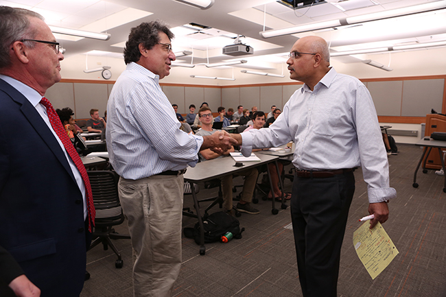 Chancellor Zeppos presents the Chancellor's Cup to Professor A. V. Anilkumar, professor of the practice of mechanical engineering and aerospace engineering. October 2, 2017