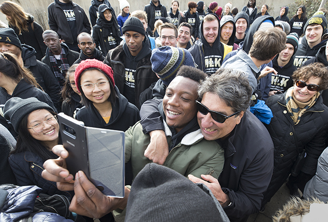 Chancellor Nicholas Zeppos takes part in the Nashville Freedom March on Martin Luther King Jr. Day. Students, Faculty and staff joined the Chancellor in the march to commemorate the civil rights leader.