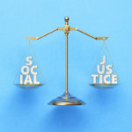 scales with social on one side and justice on the other side