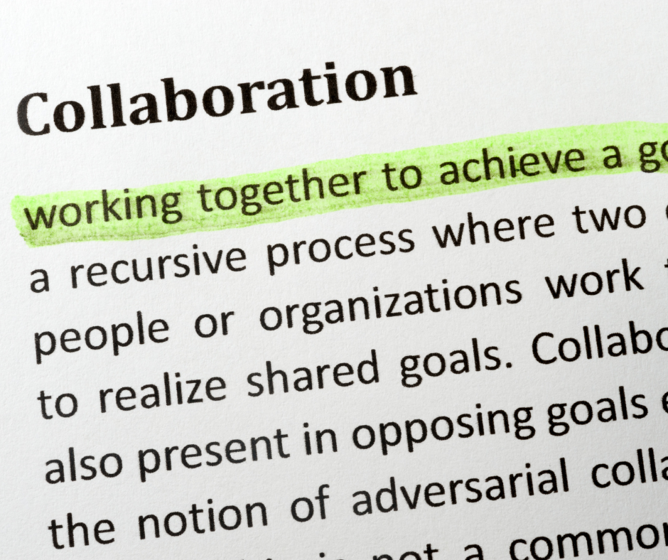 white background with definition of collaboration written in black type