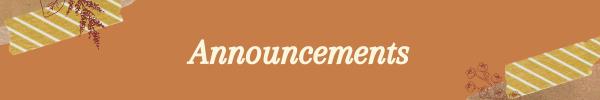 Announcements for Women's Center September 2021
