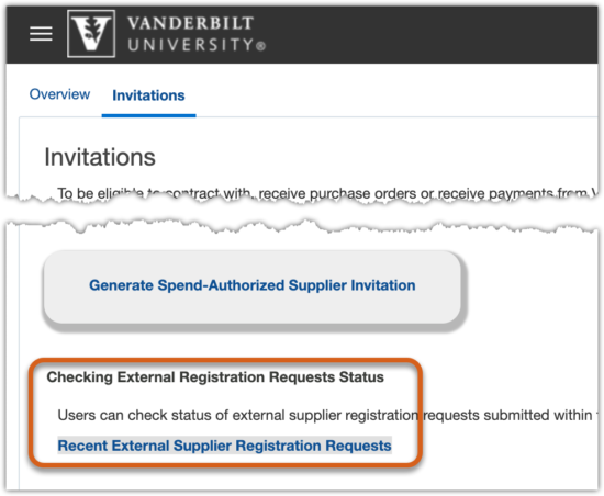 Screen shot of Suppliers module Invitations tab highlighting the new report access link