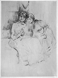 Self-Portrait Sketching, with Her Daughter