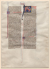 Page from a Latin Bible with Miniature of King David and Psalm 36:37–40 through Psalm 39:1–7