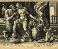 The Satyr presents gifts to Venus to incite sexual intercourse