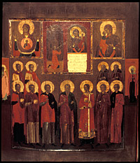 Icon with images of the Virgin and Standing Saints