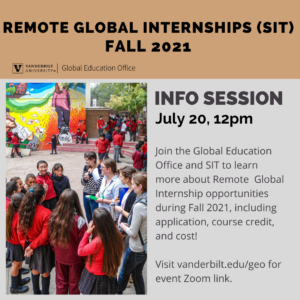 Poster of a group of peoole and information about remote global internships