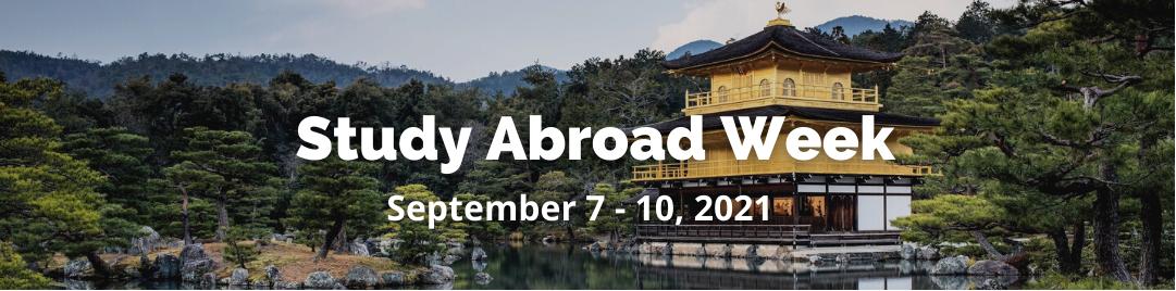 study abroad week banner image with kinkakuji as background