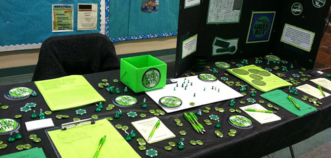 Green Dots tabled at the 2011 Wellness Bash, encouraging students to submit their Green Dots to our campus map