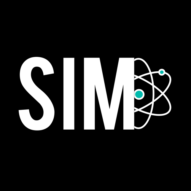 SIM in white text against a black background with an atom behind