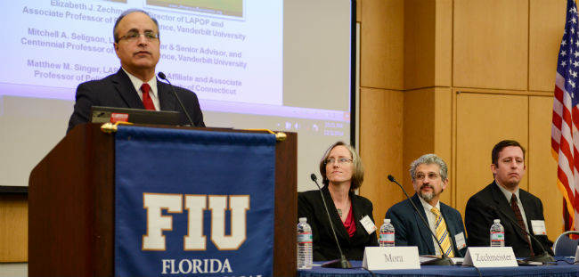Dr. Frank Mora speaks at the AmericasBarometer Regional Release, Dec. 2014.
