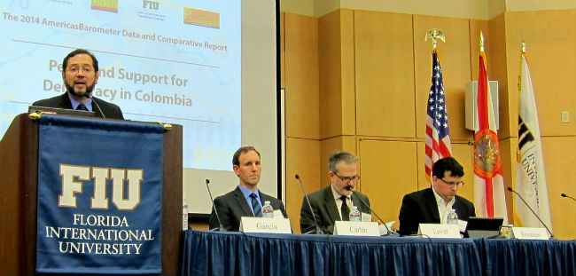Jose Miguel Cruz presents at the 2014 AmericasBarometer Regional Release.