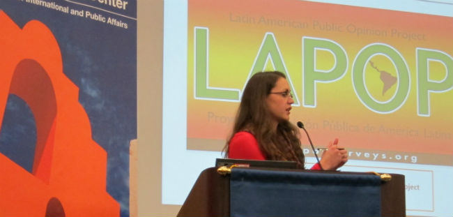 LAPOP's Dr. Mariana Rodriguez speaks at Florida International University.