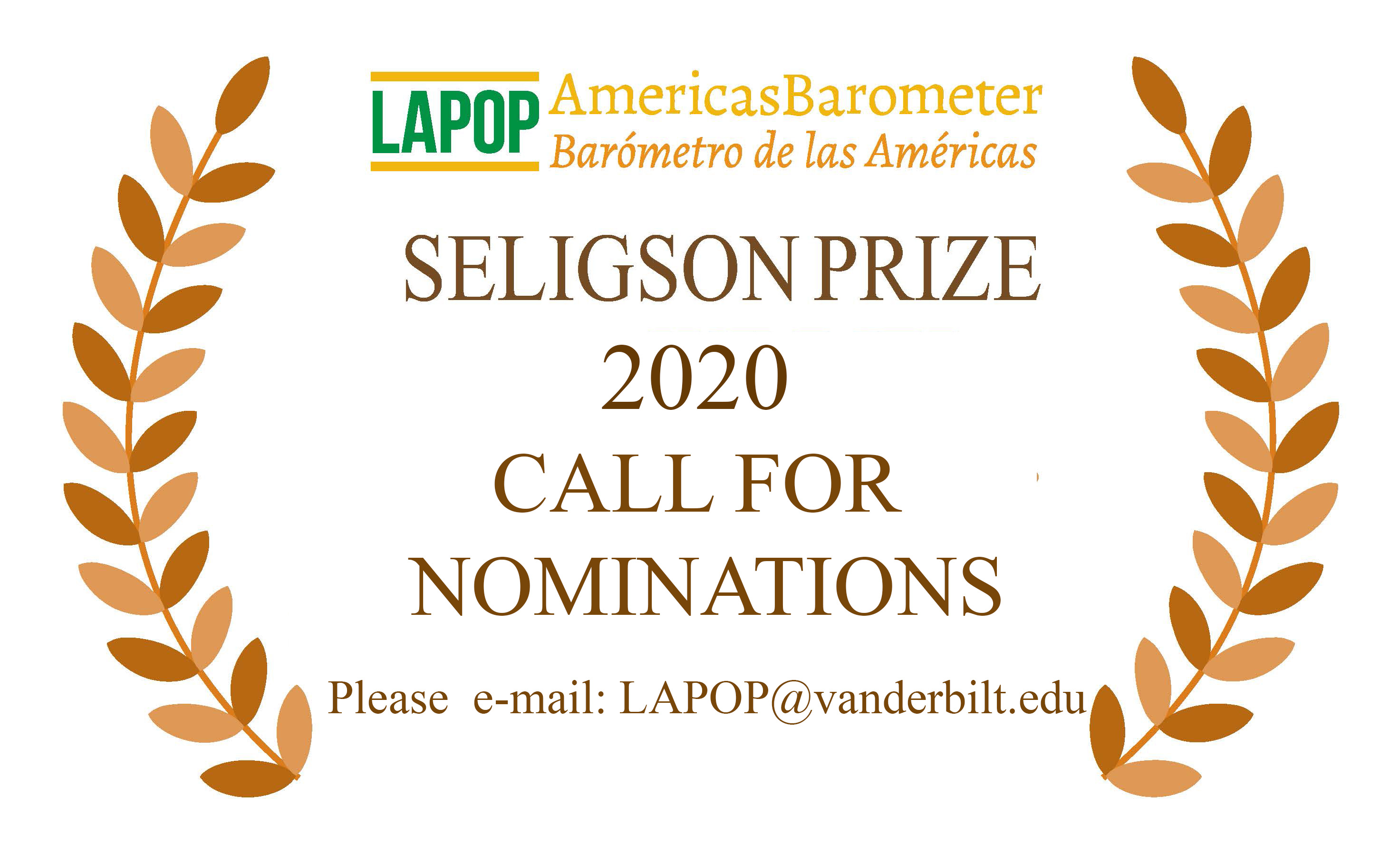 LAPOP Lab is pleased to announce a competition for this year's Seligson Prize. Click for the full announcement.