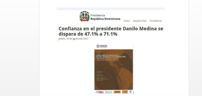 LAPOP Report Featured on the Dominican Republic's Presidential Website