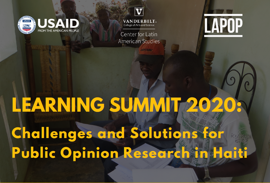 Join us to learn and discuss about LAPOP Lab's surveys in Haiti. Click here for more information.