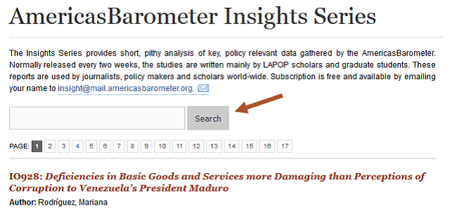 NEW LAPOP Insights search tool and compilation of e-volumes. Click here and take a look!
