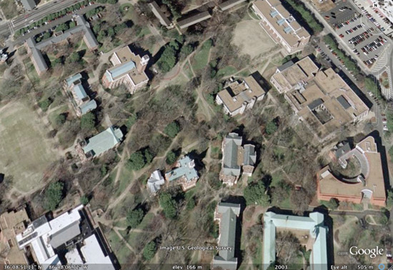 The Vanderbilt campus, as seen from Google Earth™ mapping service. Image U.S. Geological Survey © 2008 Goggle