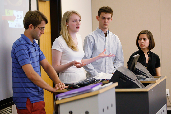A diversity of majors adds depth to group presentations by students.