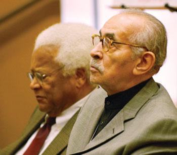 "The Rev. James Lawson and Rev. Walker at the 2008 ""We Speak for Ourselves"" panel discussion."