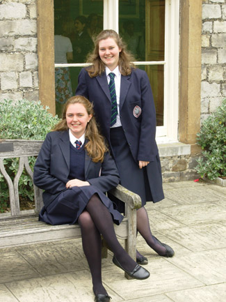 Ruth and best friend Frances White (now also a Vanderbilt student) commemorate the end of seven years at England's Wycombe Abbey.