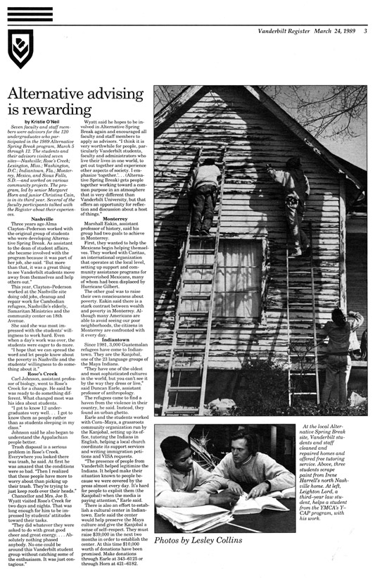 <em>The Vanderbilt Register</em>, March 24, 1989