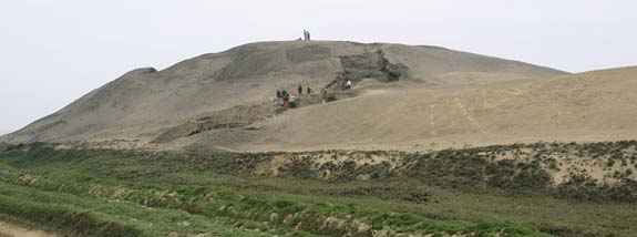 Excavation crews at Huaca Prieta, a temple pyramid on Peru's north coast  dating between 4,000 and 7,000 years ago.
