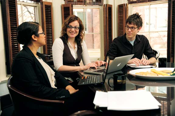 From left, Warren fellows Elena Deanda-Camacho (MA'07), Gail McConnell and Matt Whitt (MA'08) spend Tuesday afternoons helping each other fine tune their dissertations.