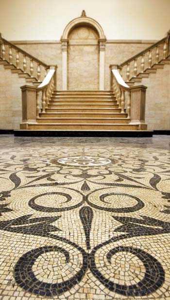 Cohen's grand staircase and tesserae floors.