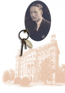 Robert Penn Warren's Vanderbilt yearbook picture; the museum has Warren's keys to his Vanderbilt room on display; Vanderbilt's Wesley Hall, one of the places Warren lived.