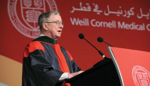Dr. Tony Gotto, Stephen and Suzanne Weiss Dean at Weill Cornell Medical College, speaks at commencement in Qatar in 2011.