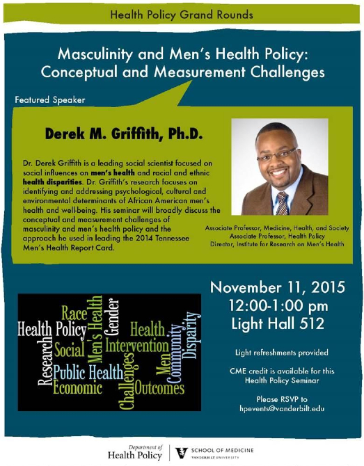 MHS Professor Derek Griffith speaks on masculinity and men's health policy