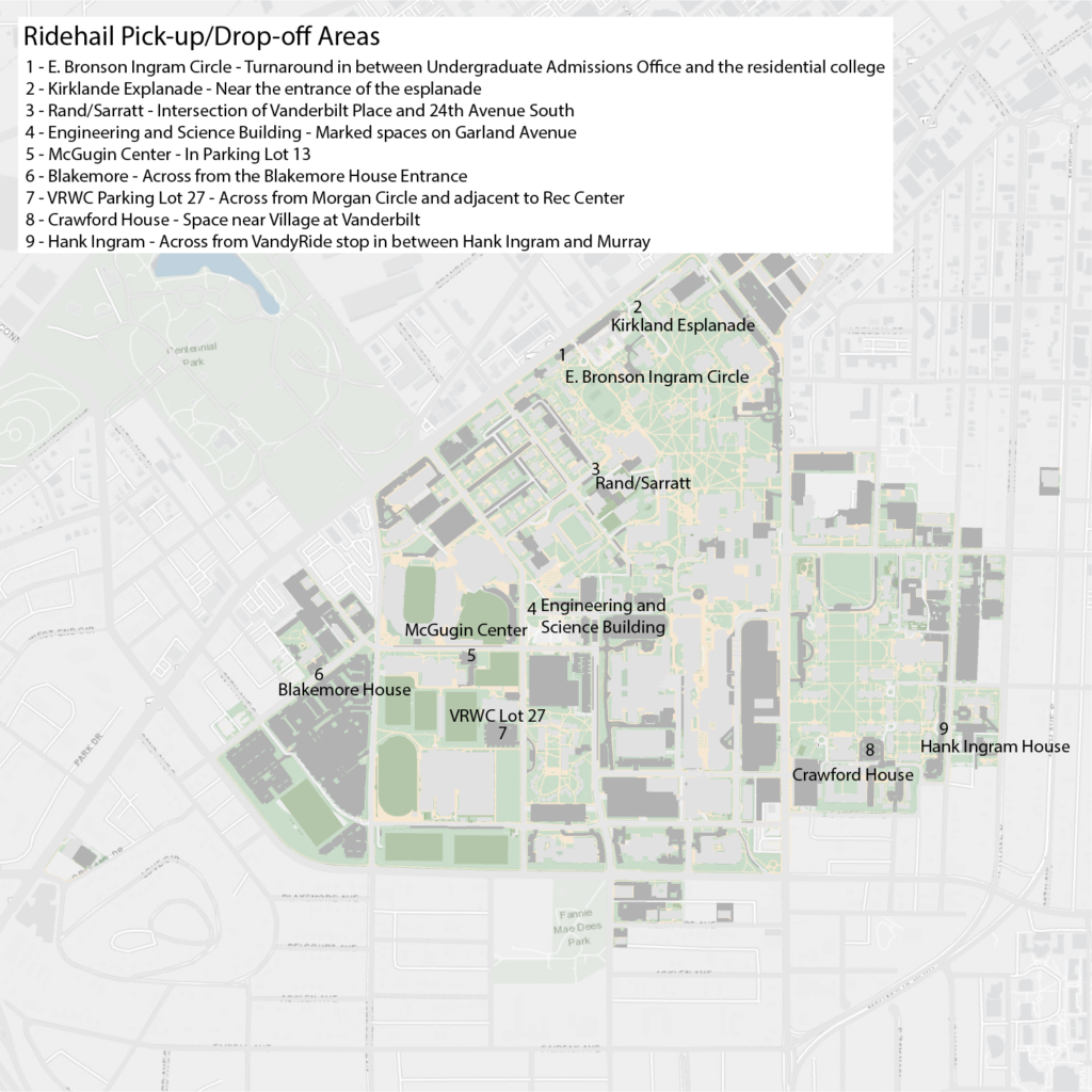 Map of designated ridehail pick-up and drop-off areas on campus
