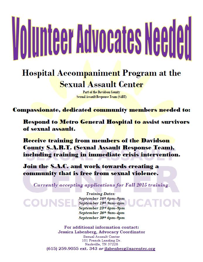 Volunteer Advocates Needed for the Hospital Accompaniment Program – Hospital Volunteer Job Description