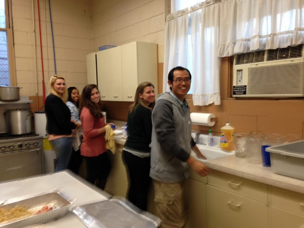 Students in the Trinity United Methodist kitchen