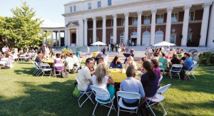 On a beautiful day in late August, Peabody feted  new graduate students  at a dinner in front of the Wyatt Center (Social-Religious Building) during orientation.
