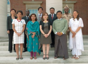 Ten Hubert H. Humphrey Fellows are at Peabody for the 2011-12 academic year. Front row, from left: Sonia Dias, Brazil; Sobia Alam,  Pakistan; Julieta Sandoya, Ecuador; Aye Myint Than Htay, Myanmar; Cathy Arendse, South Africa; back row: Margaret Li Yin, Mauritius; Davry Jean, Côte d'Ivoire; Alonso Silva, Chile; Tomy Bawulang, Indonesia; Charles Kouadio, Côte d'Ivoire