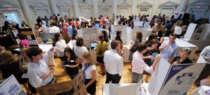 Students from the Leadership and Organizational Performance program took part in a poster event held last September at Peabody's Wyatt Center (formerly the Social-Religious Building) that highlighted students' summer internship experiences.
