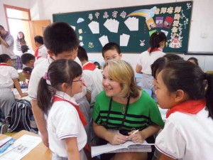Knoxville principal Beth Blevins made new friends in a Shanghai classroom.