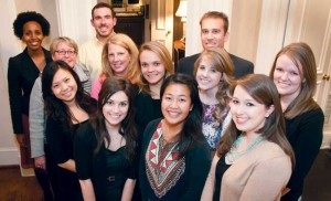 Ten Peabody professional students gathered for a GOLD Dinner at the home of Betsy Wills. Back row (from left): Betsega Bekele, Matt Dolson and Jeffrey Gayhart; middle row: Peabody Associate Dean for Professional Education Sharon Shields, Wills, Amy Venit, Carlee Smith and Stephanie Morrison; front row: Mengting Ren, Katie Conwell, Cassaundra Vergel and Alex Garza. (Photo by Susan Adcock)