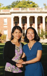 YingLian Helen Du, left, has established the Peabody-Asia Center for Education Fund, which will help Peabody expand programs and partnerships in China. Her college friend, Associate Dean for International Affairs Xiu Cravens, right, will help direct projects for the fund.