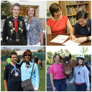The Paragon School offers horseback riding, sports and one-on-one support for students. Pictured far left is Helen Leonard with renowned autism advocate Temple Grandin.