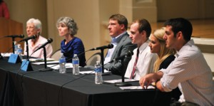 Peabody faculty members (from left) Kathy Hoover-Dempsey, Marcy Singer-Gabella and Matthew Springer participated in a panel discussion on public education reform with Patterson Scholars Thomas Goodman, Alyson Martin and Connor Lewis during author James Patterson's January visit.