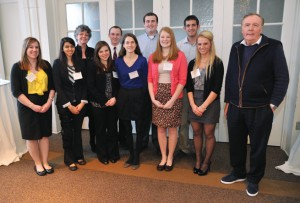Best-selling author James Patterson, MA'70 (far right), visited the Peabody campus in January, meeting nine Patterson Scholars. From left, front: Juliana Musselman, Nisha Khorasi, Sarah Kenny, Leighton Bell, Taylor Roman, Alyson Martin and Mr. Patterson. Back row: Dean Camilla Benbow, Thomas Goodman, Joshua Weinstein and Connor Lewis.